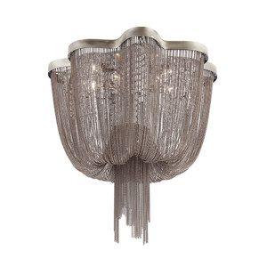 Lustre Ária Metal 40xØ60cm 6XE14 Cor Cromado Bella Iluminação WD015C