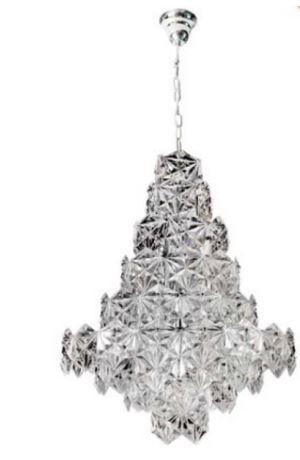 Lustre Zara Cristal 76xØ60 12XE14 Cor Cromado e Transparente Bella Iluminação BM003C