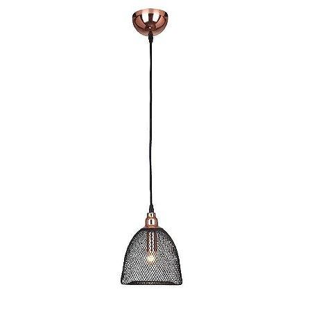 Pendente Copper 17,5cmx173,5cm 1XE27 Cor Cobre e Preto Bella Iluminação XN002