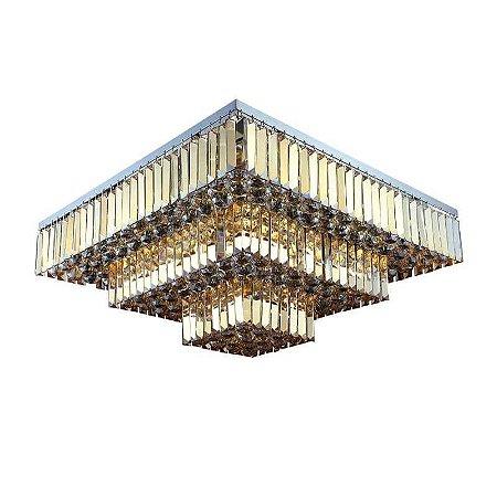 Plafon Carre Metal e Cristal 13 x 40W E14 13x67x67 Cor Âmbar e Cromado Bella Iluminação AQ017A