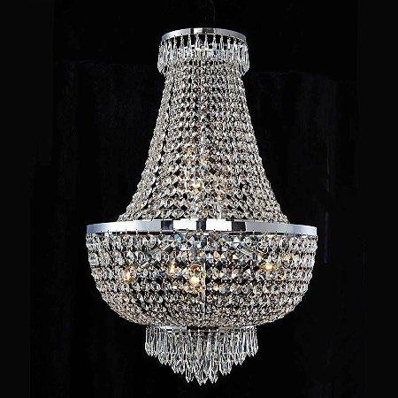 Lustre Império Cristal 79xØ52  8XE14 Cromado e Transparente Bella Iluminação AQ022