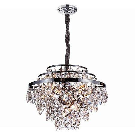 Lustre Palace Cristal Ø46 6xE14 Cor Cromado e Transparente Bella Iluminação AQ025S