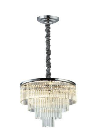 Pendente Vivi Metal e Cristal 9x40W E14 ø60cm x 42cm Cor Cromado e Transparente  Bella Iluminação AQ031C
