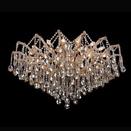 Plafon Teia em Metal Cristal 120x120x75cm 24xE14 Cor Champagne e Cromado Bella Iluminação AR003A