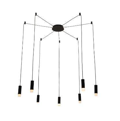 Pendente Spider Metal e Acrílico 3,6 x13cm Canopla 17cm Preto 13 Bivolt 7xG9  Cor Preto Fosco Bella Iluminação YD009