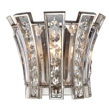 Arandela Jazz Cristal 19x12x23  1XE14 Cor Prata Envelhecido Bella Iluminação AS008