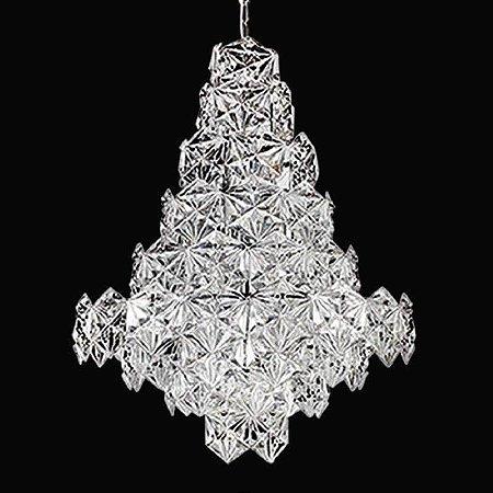 Lustre Zara Cristal 76xØ60 12XE14 Cor Transparente e Cobre Bella Iluminação BM003B