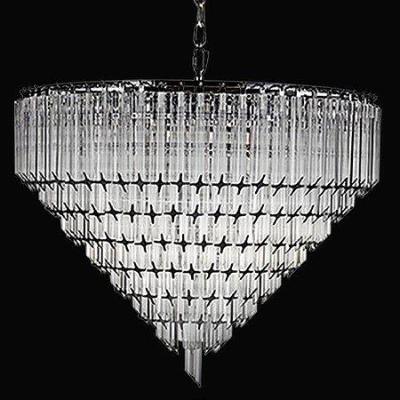 Lustre Opus Cristal 50xØ62  6XE14 Cor Cromado e Transparente Bella Iluminação BM006