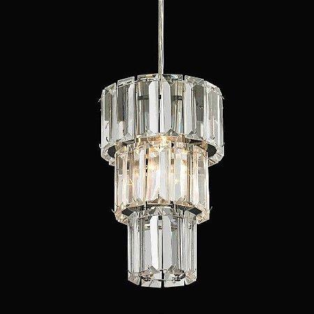 Pendente Krika em Metal e Cristal 200xØ13cm 1XG9 Cor Cromado e Transparente Bella Iluminação BO008