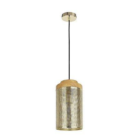 Pendente Telinha Duo 15x178cm 1XE27 Cor Bronze e Madeira Bella Iluminação CI005A