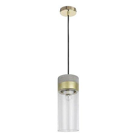 Pendente Moa Concreto 181,5xØ12cm 1XE27 Cor Dourado e Transparente Bella Iluminação CI017A