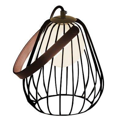 Abajur Lamp Aramado Metal e Couro 22xØ18 1xG9 Cor Preto Branco e Marrom Bella Iluminação ML001B