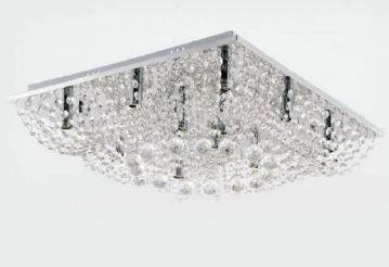 Plafon Eliana 500 Metal Cromo e Cristal Transparente 50x50cm 13xG9 Bivolt Adn+ SY-F13011