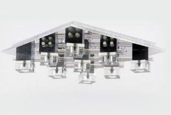 Plafon Eliora Metal, Vidro e Cristal 57x57x15,5cm 9xG9 + LED RGB C/ Controle Remoto 220V Adn+ D4108-9S