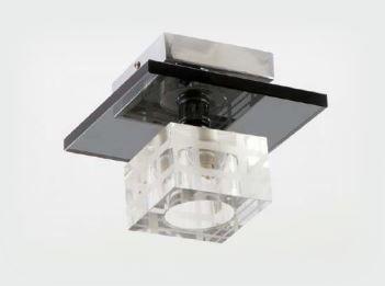 Plafon de Vidro Quadrado com Vidro da Base Preto 1 Lâmpadas G9 BIVOLT 16X16X16 Adn+ x2052-1
