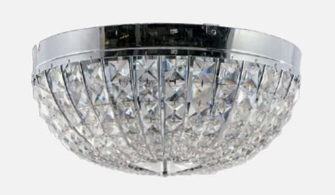 Plafon Metal Cromo e Cristal Transparente ø32x20cm 4xE14 Bivolt  Adn+ MX120716-4
