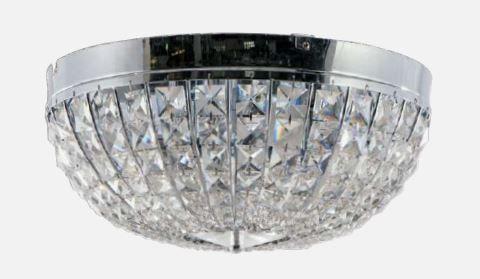 Plafon Metal + Cristal 8 Lâmpadas E14 500xH225mm BIVOLT Adn+ MX120716-8