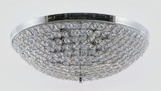 Plafon Metal e Cristal Transparente ø48x14,5cm 6xG9 Bivolt Adn+ MX120715-6 CH+CL
