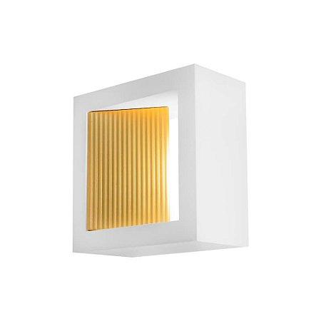 Arandela Portara com Refletor – 127V LED 2700K – 100 x 100 x 51mm Cor Branco com Dourado Newline SN10146BTDO