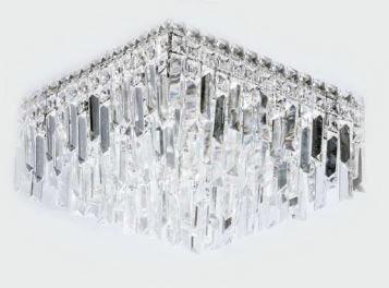 Plafon Metal Cromo e Cristal Transparente 40x40x24cm 5xG9 Bivolt Adn+ BF8115B-X6