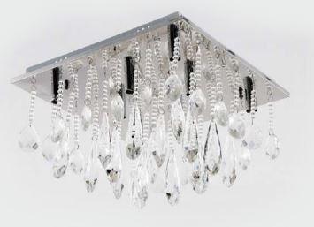 Plafon Cristal Transparente 8 Lâmpadas G9 - 40x40cm Adn+ SYF1612/8D400 CH