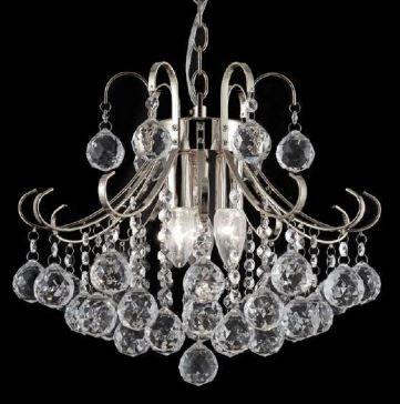 Pendente Metal e Cristal Transparente ø40x40cm 4xE14 Bivolt Adn+ SJ5114/4CL Cód: 1213