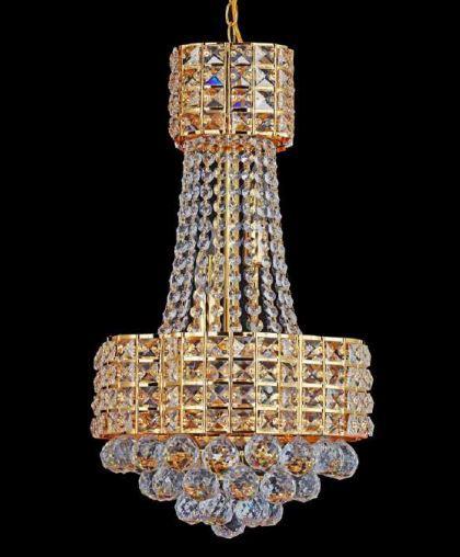 Lustre Valentine Metal Dourada Cristal Transparente 5 Lâmpadas E14 Bivolt D33 x A50 cm Adn+ SJ2206/5FGD