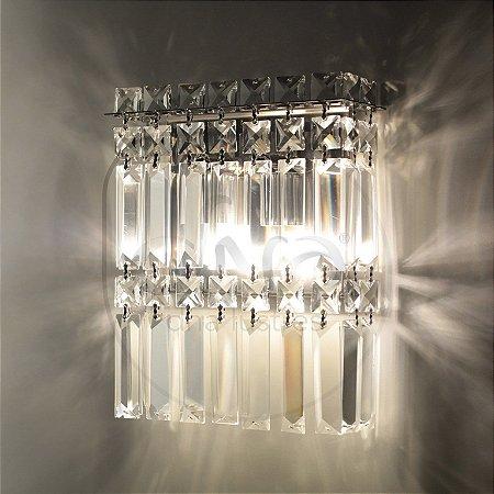 Arandela Apolo Quadrado Metal e Cristal 24x20 DNA Lustres ARA-002