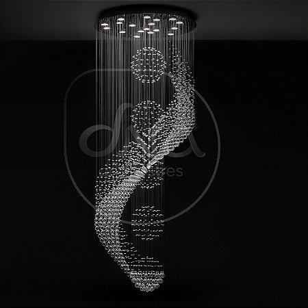 Plafon Sobrepor Cascata Redondo c/ 5 Esferas Metal e Cristal 200xØ80 DNA Lustres CSC-3000-5 ESF