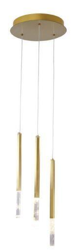 Pendente Petra 30cmØ x 44cm 3 x 2W LED Dourado e Natural Bella Iluminação OC001M