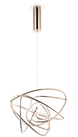 Pendente Ninho 41cm x 28cm 1 x LED 24W Cor Rose Gold Bella Iluminação WD017M