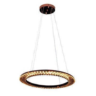 Pendente LED Orbit Metal e Cristal 3000K Quente 30W Ø62 Cor Rose Gold e Champagne Bella Iluminação ID009E
