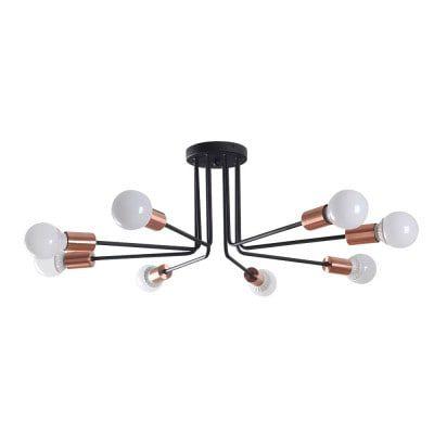 Plafon Nyuron em Metal  77cmx27cm 8xE27 40W Cor Cobre e Preto Bella Iluminação XN011L