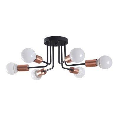 Plafon Nyuron em Metal 48cmx19cm 6xE27 40W Cor Cobre e Preto Bella Iluminação XN011S