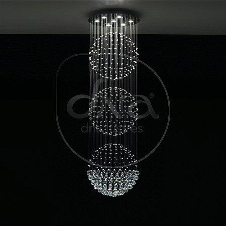 Plafon Sobrepor Astros Metal e Cristal 200x80 DNA Lustres QU-80-3 ESF