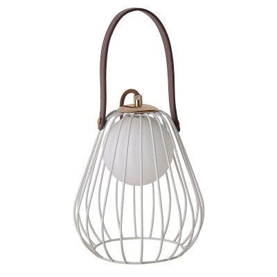 Abajur Lamp Aramado Metal e Couro 22xØ18 1XG9 Cor Branco e Marrom Bella Iluminação ML001W
