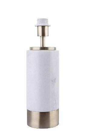 Base para Abajur Marmo 12cmx39cm 1xA60 40W Cor Dourado e Branco Bella Iluminação GL001GW