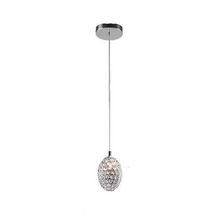 Pendente Goutte em Metal e Cristal 15xØ10cm Bivolt 1XG9 Cor Cromado e Transparente Bella Iluminação GA014