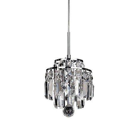 Pendente Kri em Metal e Cristal 21xØ18 1XG9 Cor Cromado e Transparente Bella Iluminação HU2105