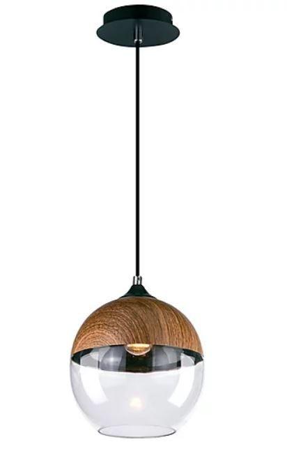 Pendente Legno Esfera Metal e Vidro Ø20x24cm 1xE27 40W Bivolt Cor Madeira Casual Light 606
