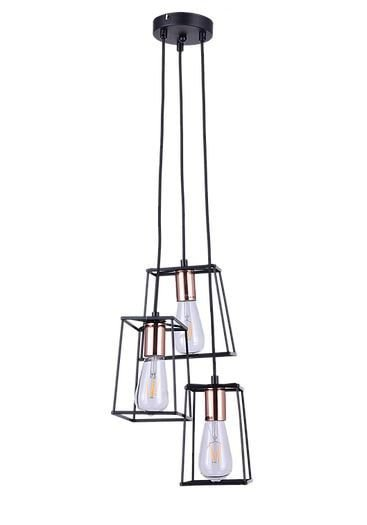 Pendente Ivory Metal 40x180cm 3xE27 40W Cor Preto e Cobre Casual Light PD641