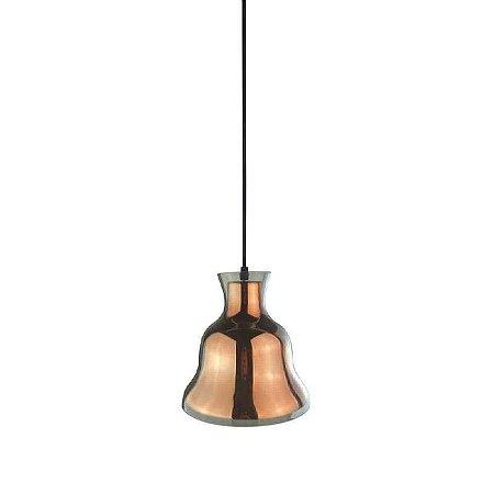 Pendente Bule vidro ø21cm x 21,5cm 1xE27 Cor Cobre e Transparente Bella Iluminação DA007A