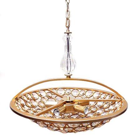 Pendente Champ Cristal 20xØ53 5xE14 Cor Ouro Velho e Transparente  Bella Iluminação MR001S