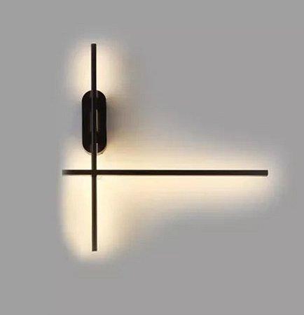 Arandela Cross Preto Texturizado Led 20w 2700K L-48cm C-55cm H11cm Mais Luz AR-094/20.27PF