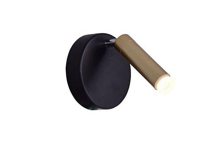 Arandela LED Occhio 3W 2700K Bivolt  12cmx17cm Dourado Fosco e Preto Bella JJ015