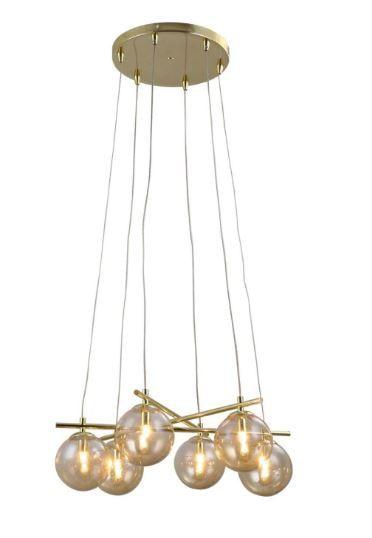 Pendente Asta 6L Halopin G9  65,5cm x 34,5cm x 25,5cm Cor Dourado e Champagne Bella Iluminação OD039G