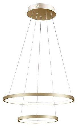 Pendente Montreal Alumínio 50x30x2cm  LED 25W 15W 3000K Cor Dourado Casual Light QPD1301-DO