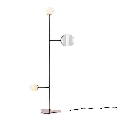 Luminária de Chão Maadi Acabamento Cromado 61x150x35cm Vidro Soprado Klaxon 3180005CRO