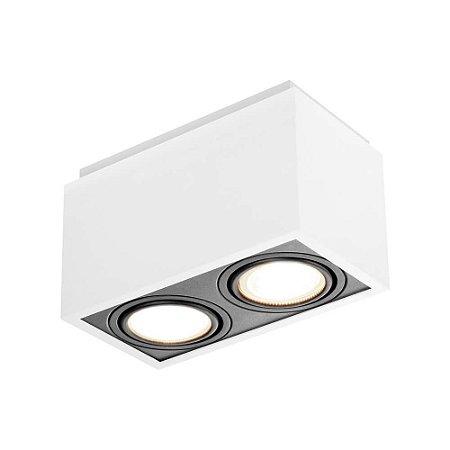 Plafon Box 2 Par20 50W  12x22x12cm Branco Total e Preto Total Newline IN40132BTPT