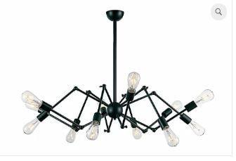 Pendente Spider Metal 90x70cm 12xE27 40W Cor Preto Casual Light PD745